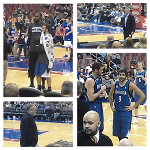 76'ers vs Timberwolves (Ricky Rubio, Kevin Love, Ronnie Turiaf, Coach Rick Adelman)