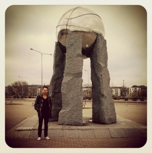 Basketball monument in front of the Siemens Arena in Vilnius